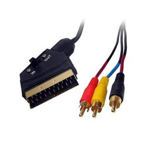 1.2m Gold switchable scart to 3 x rca lead